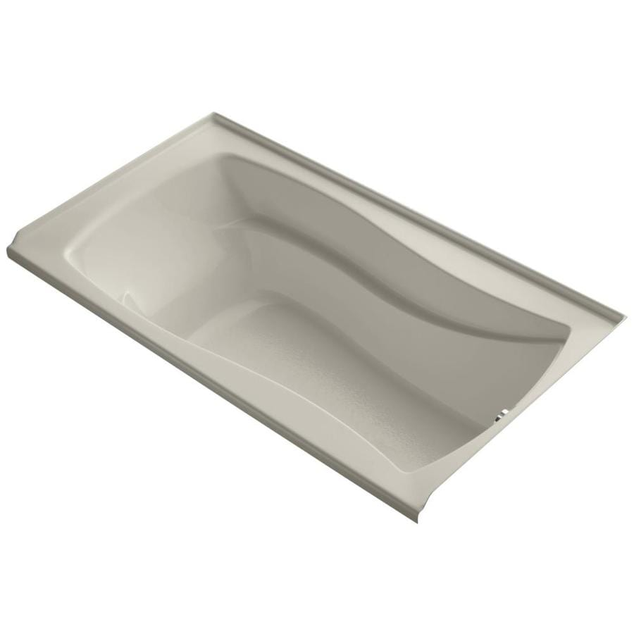 KOHLER Mariposa Sandbar Acrylic Rectangular Alcove Bathtub with Right-Hand Drain (Common: 36-in x 66-in; Actual: 21.25-in x 35.875-in x 66-in)