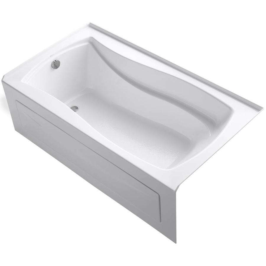 KOHLER Mariposa White Acrylic Rectangular Alcove Bathtub with Left-Hand Drain (Common: 36-in x 66-in; Actual: 21.25-in x 36-in x 66-in)