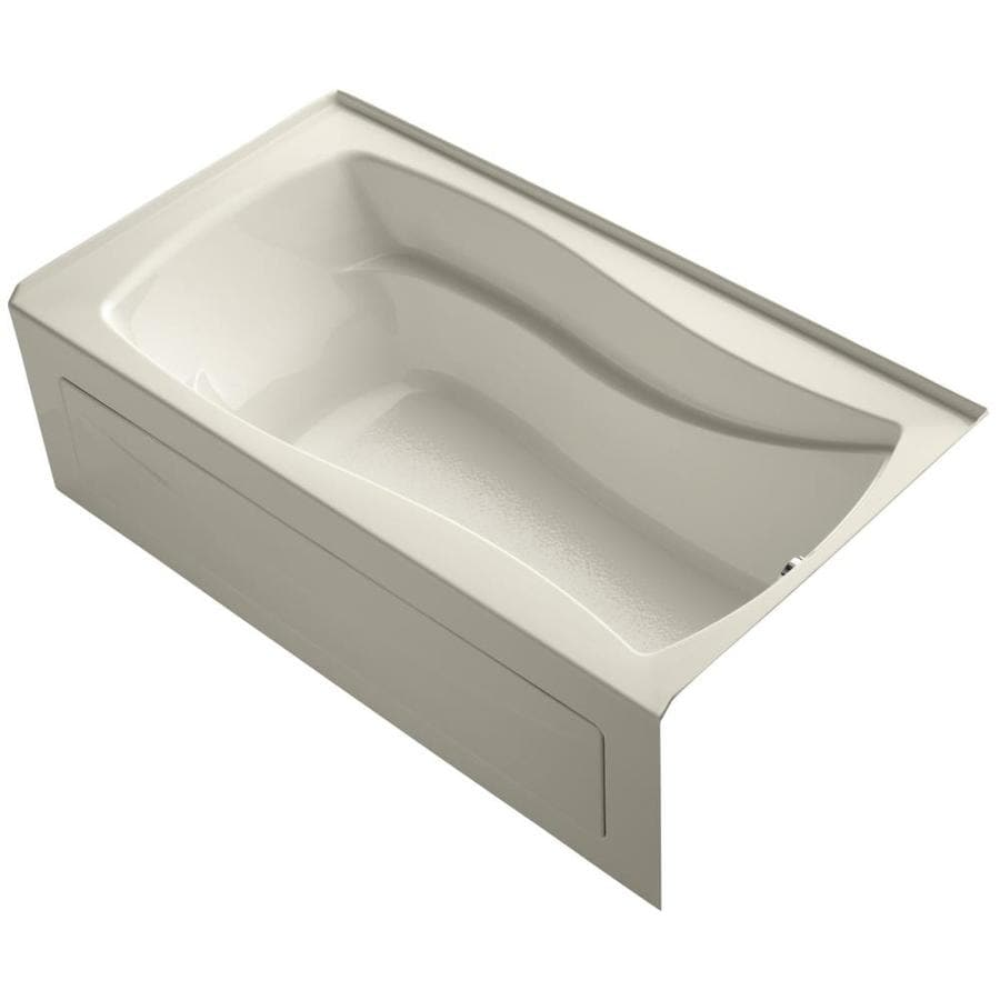 KOHLER Mariposa Almond Acrylic Rectangular Alcove Bathtub with Right-Hand Drain (Common: 36-in x 66-in; Actual: 21.25-in x 35.875-in x 66-in)