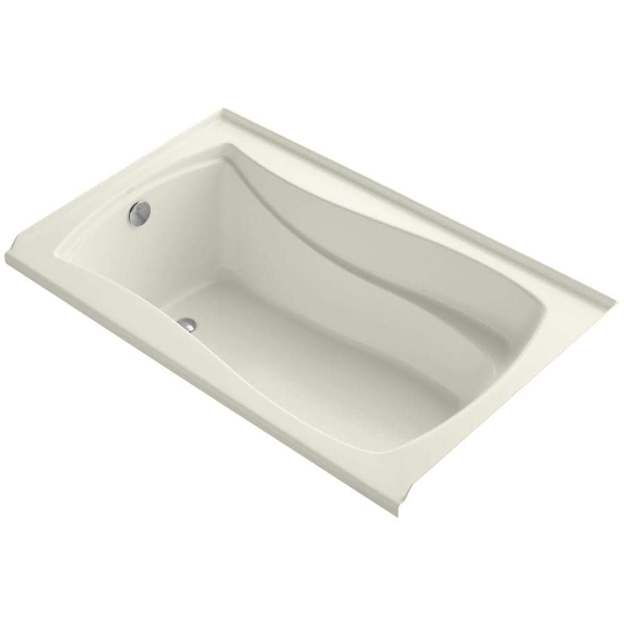 KOHLER Mariposa Biscuit Acrylic Hourglass In Rectangle Alcove Bathtub with Left-Hand Drain (Common: 36-in x 60-in; Actual: 21.25-in x 36-in x 60-in)