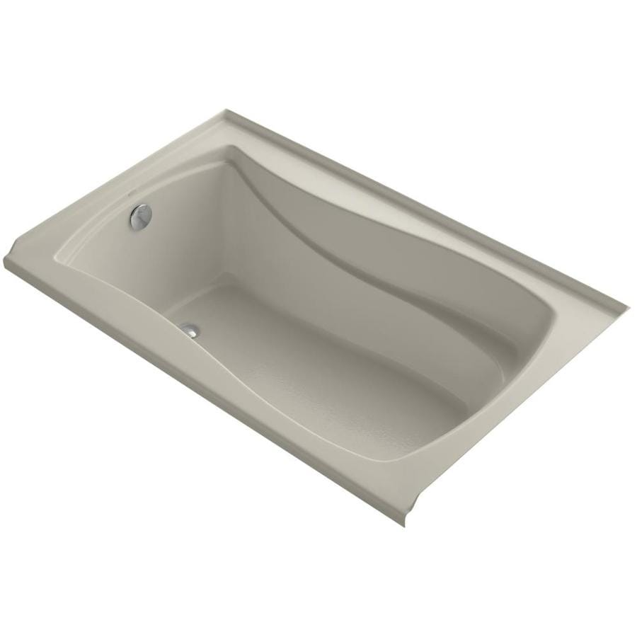 KOHLER Mariposa Sandbar Acrylic Hourglass In Rectangle Alcove Bathtub with Left-Hand Drain (Common: 36-in x 60-in; Actual: 21.25-in x 36-in x 60-in)