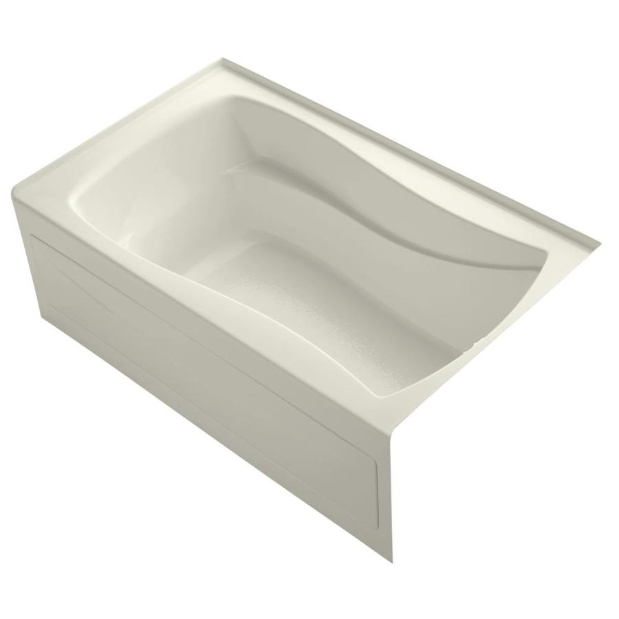 KOHLER Mariposa Biscuit Acrylic Hourglass In Rectangle Alcove Bathtub with Right-Hand Drain (Common: 36-in x 60-in; Actual: 21.25-in x 36-in x 60-in)