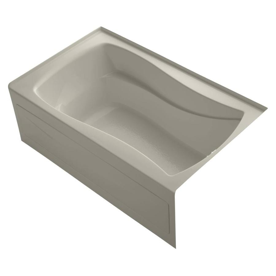 KOHLER Mariposa Sandbar Acrylic Hourglass In Rectangle Alcove Bathtub with Right-Hand Drain (Common: 36-in x 60-in; Actual: 21.25-in x 36-in x 60-in)
