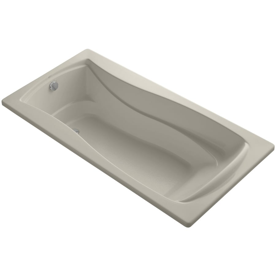 KOHLER Mariposa Sandbar Acrylic Hourglass In Rectangle Drop-in Bathtub with Reversible Drain (Common: 36-in x 72-in; Actual: 21.25-in x 36-in x 72-in)