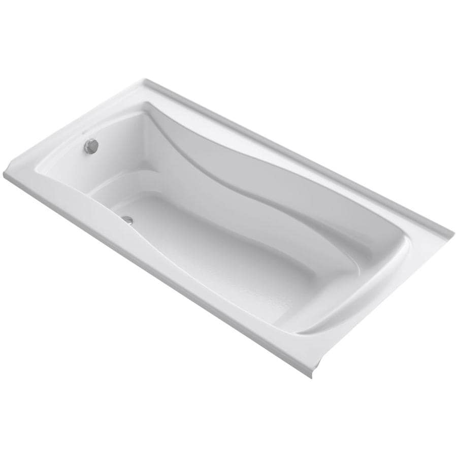 KOHLER Mariposa White Acrylic Hourglass In Rectangle Alcove Bathtub with Left-Hand Drain (Common: 36-in x 72-in; Actual: 21.25-in x 36-in x 72-in)