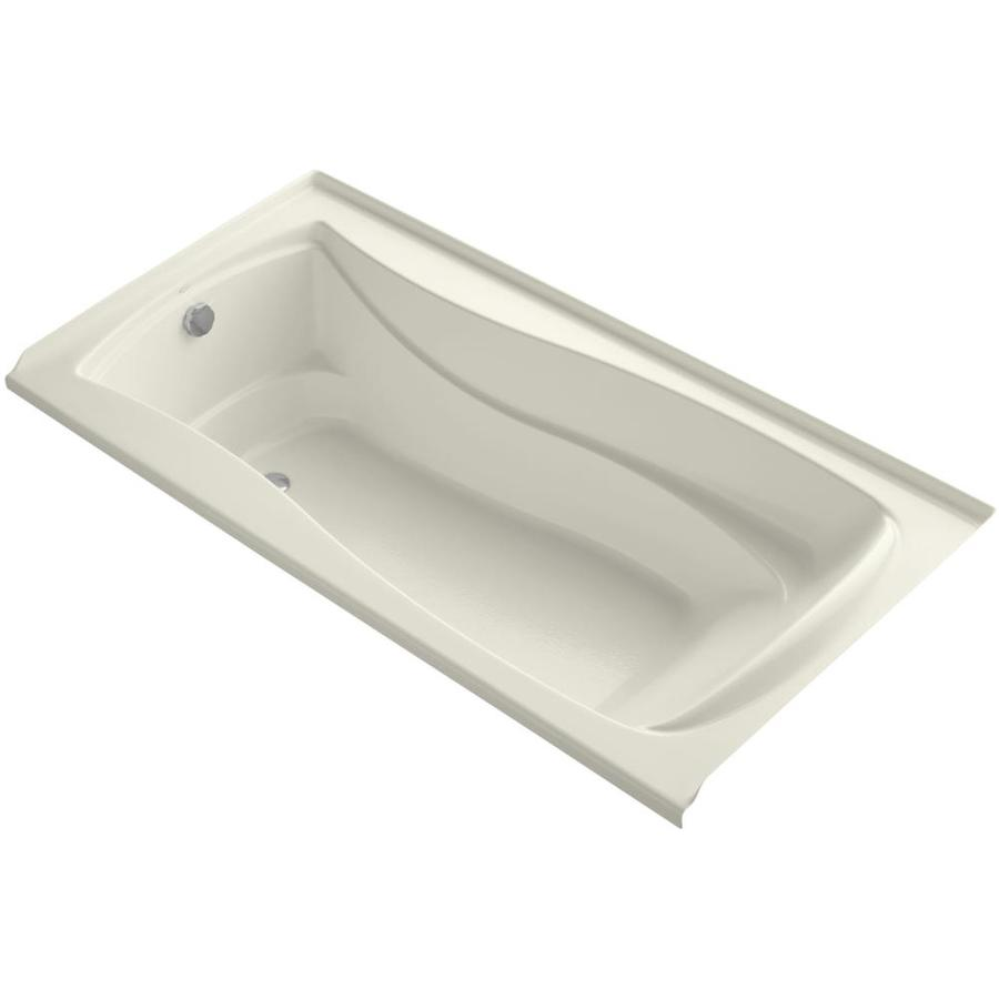 KOHLER Mariposa Biscuit Acrylic Hourglass In Rectangle Alcove Bathtub with Left-Hand Drain (Common: 36-in x 72-in; Actual: 21.25-in x 36-in x 72-in)