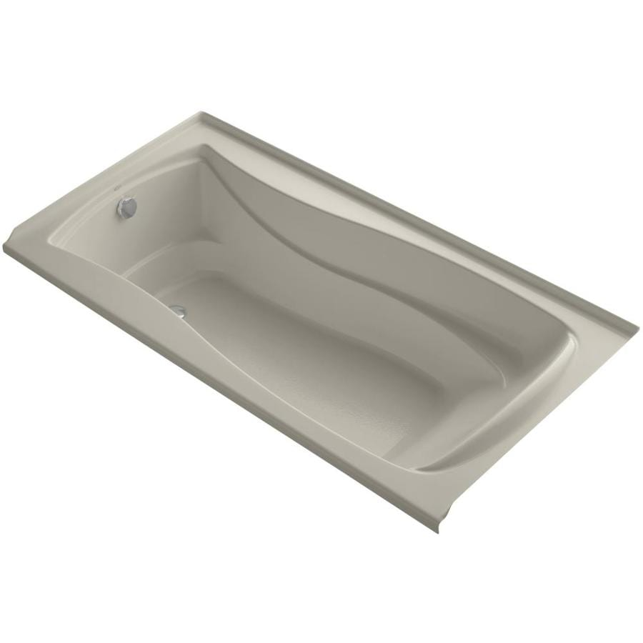 KOHLER Mariposa Sandbar Acrylic Hourglass In Rectangle Alcove Bathtub with Left-Hand Drain (Common: 36-in x 72-in; Actual: 21.25-in x 36-in x 72-in)
