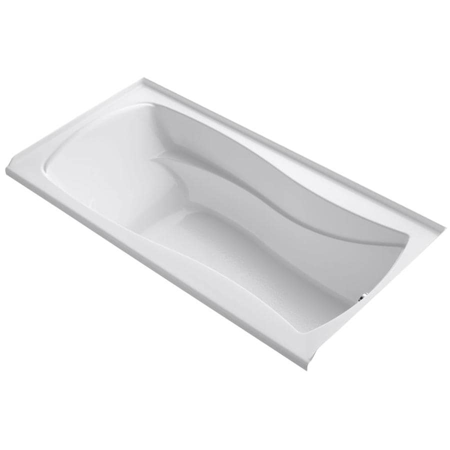 KOHLER Mariposa White Acrylic Hourglass In Rectangle Alcove Bathtub with Right-Hand Drain (Common: 36-in x 72-in; Actual: 21.25-in x 36-in x 72-in)