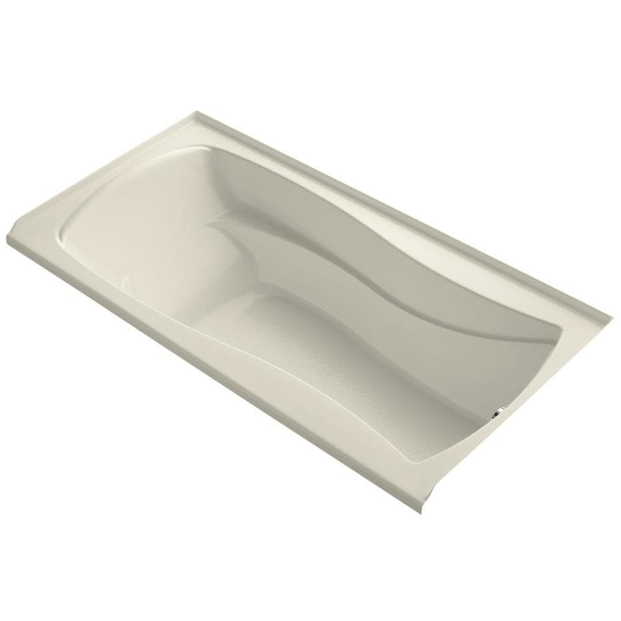 KOHLER Mariposa 72-in Almond Acrylic Alcove Bathtub with Right-Hand Drain