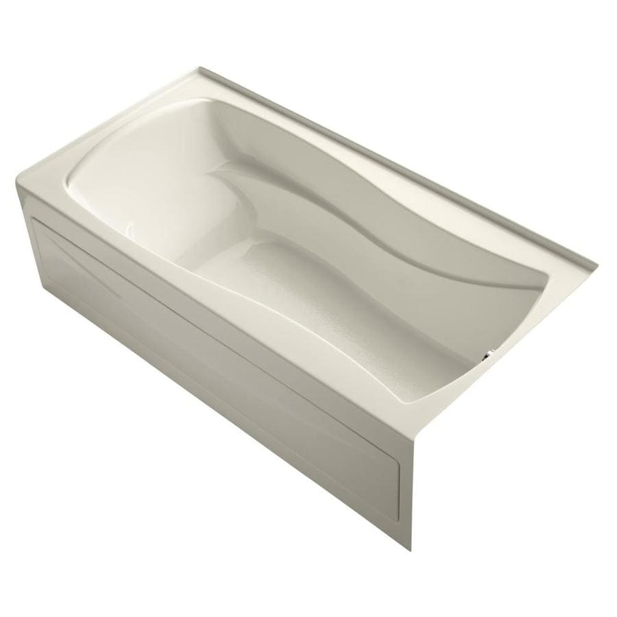 KOHLER Mariposa 72-in Almond Acrylic Skirted Bathtub with Right-Hand Drain