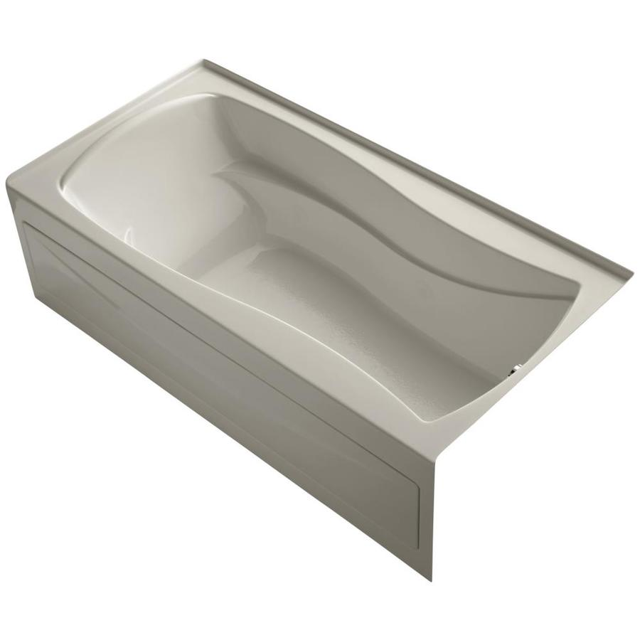 KOHLER Mariposa Sandbar Acrylic Hourglass In Rectangle Skirted Bathtub with Right-Hand Drain (Common: 36-in x 72-in; Actual: 21.25-in x 36-in x 72-in)
