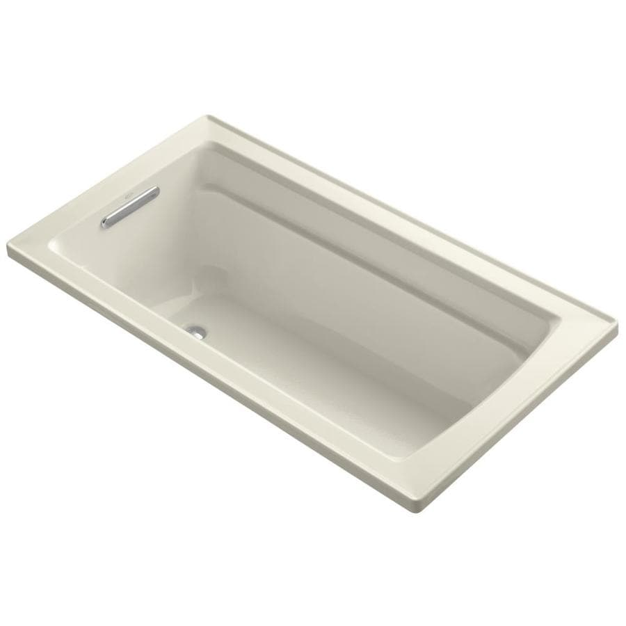 KOHLER Archer Almond Acrylic Rectangular Drop-in Bathtub with Reversible Drain (Common: 32-in x 60-in; Actual: 19-in x 32-in x 60-in)