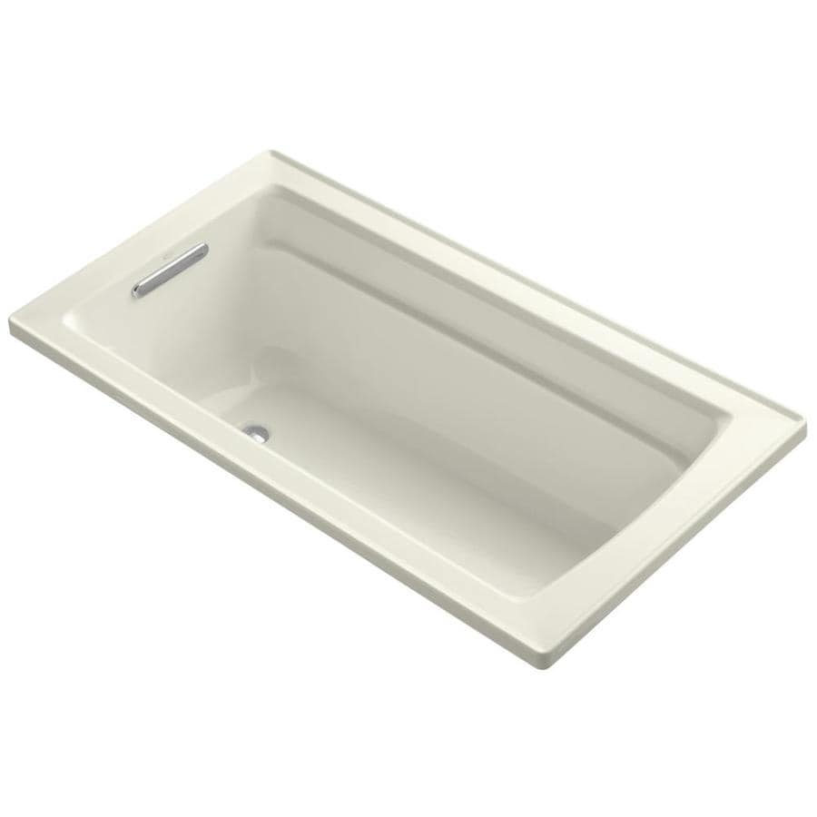 KOHLER Archer 60-in Biscuit Acrylic Drop-In Bathtub with Reversible Drain