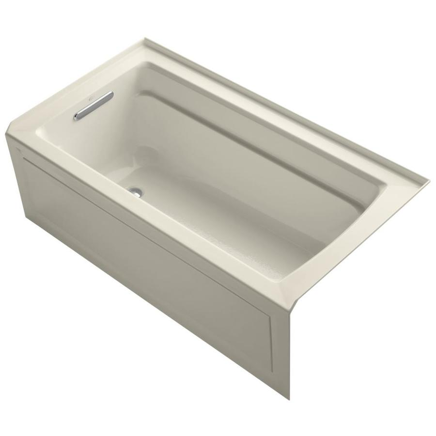 KOHLER Archer 60-in Almond Acrylic Alcove Bathtub with Left-Hand Drain