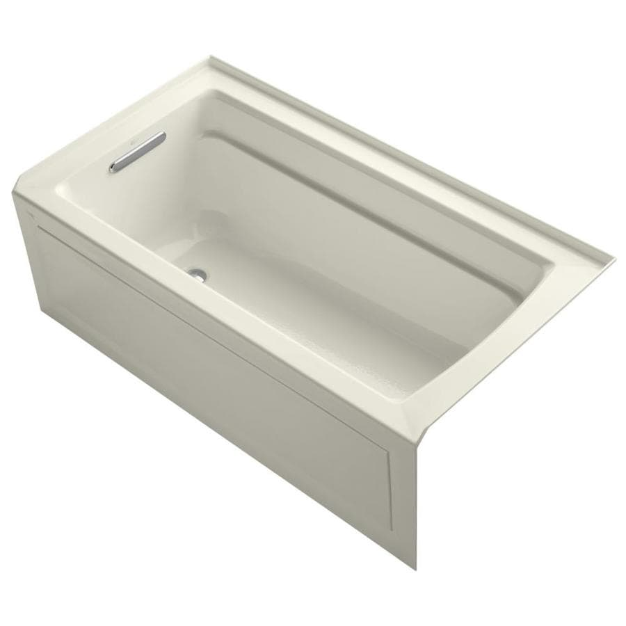 KOHLER Archer Biscuit Acrylic Rectangular Alcove Bathtub with Left-Hand Drain (Common: 32-in x 60-in; Actual: 20.25-in x 32-in x 60-in)