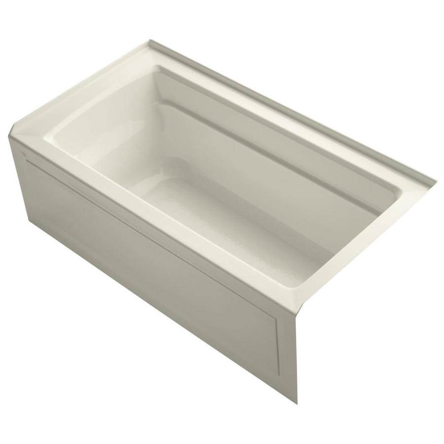 KOHLER Archer Almond Acrylic Rectangular Alcove Bathtub with Right-Hand Drain (Common: 32-in x 60-in; Actual: 20.25-in x 32-in x 60-in)