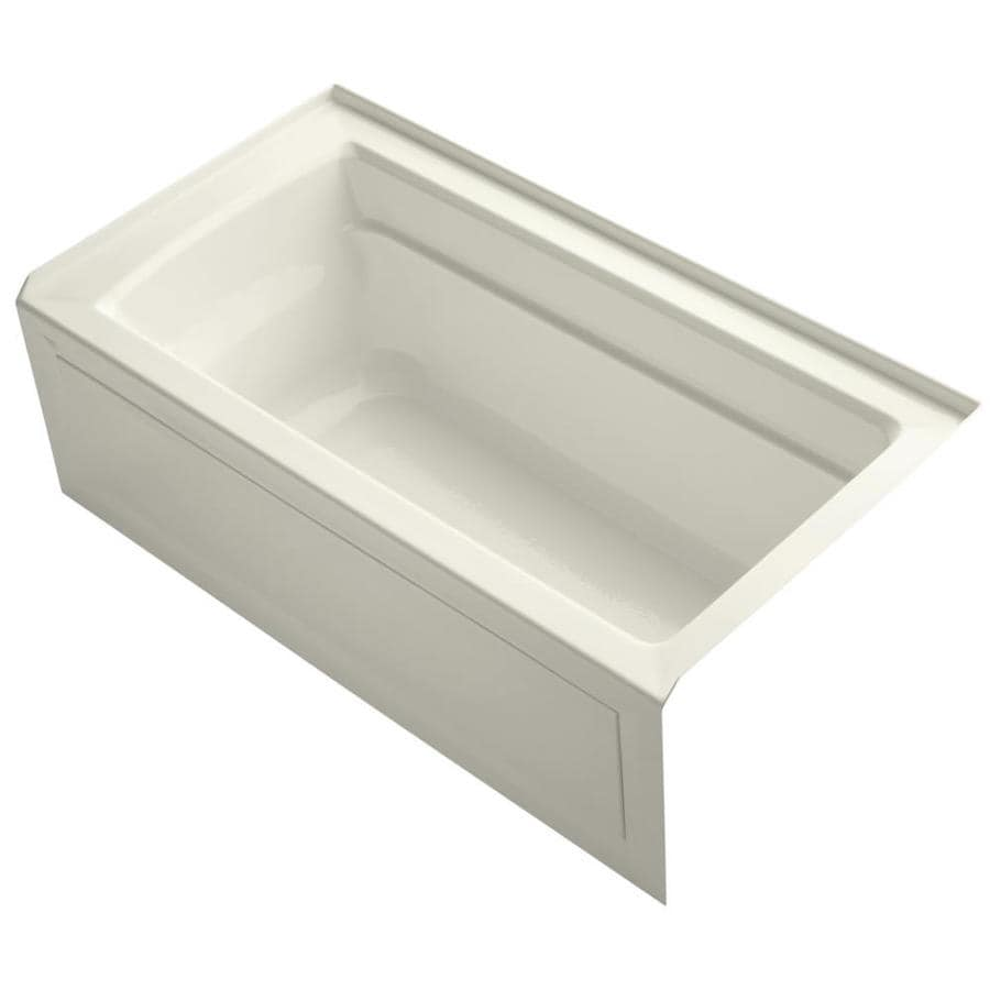KOHLER Archer Biscuit Acrylic Rectangular Alcove Bathtub with Right-Hand Drain (Common: 32-in x 60-in; Actual: 20.25-in x 32-in x 60-in)