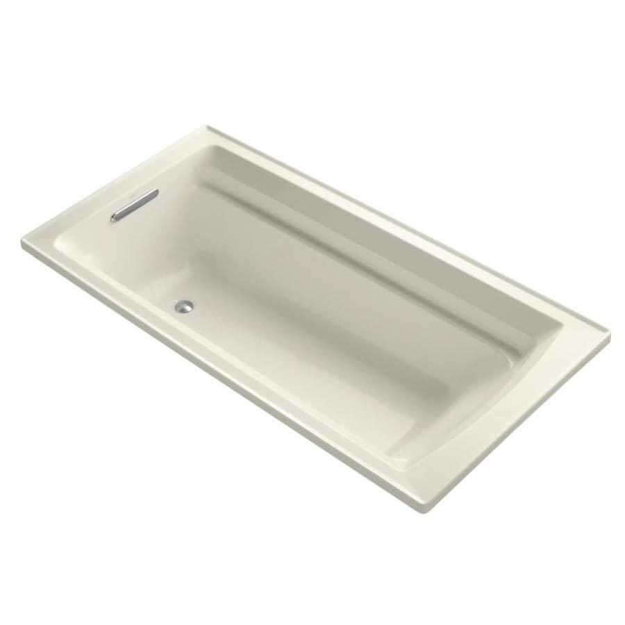 KOHLER Archer Biscuit Acrylic Rectangular Drop-in Bathtub with Reversible Drain (Common: 36-in x 72-in; Actual: 19-in x 36-in x 72-in)