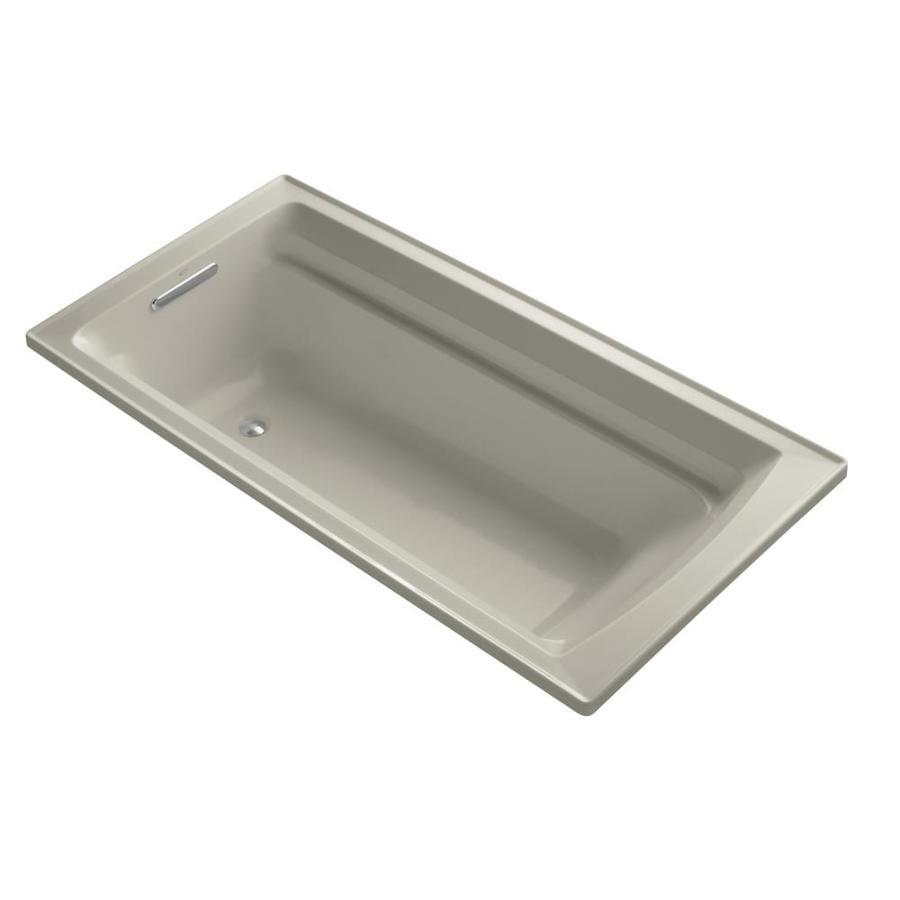 KOHLER Archer Sandbar Acrylic Rectangular Drop-in Bathtub with Reversible Drain (Common: 36-in x 72-in; Actual: 19.0000-in x 36.0000-in x 72.0000-in)