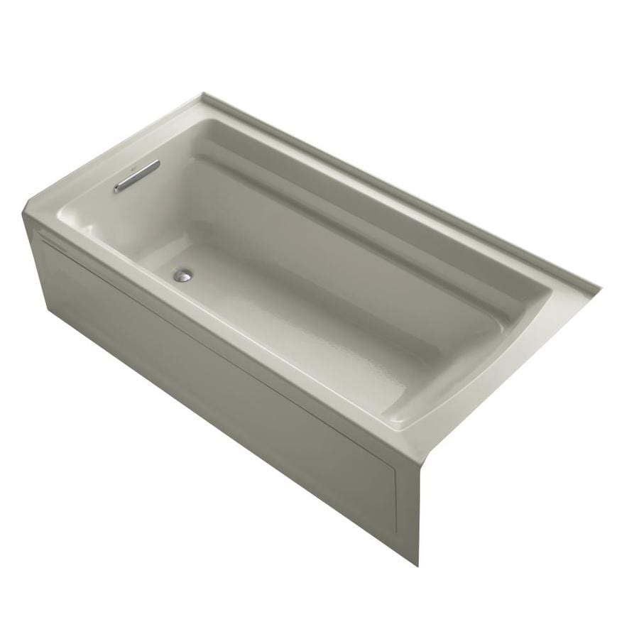 KOHLER Archer Sandbar Acrylic Rectangular Alcove Bathtub with Reversible Drain (Common: 36-in x 72-in; Actual: 20.25-in x 36-in x 72-in)
