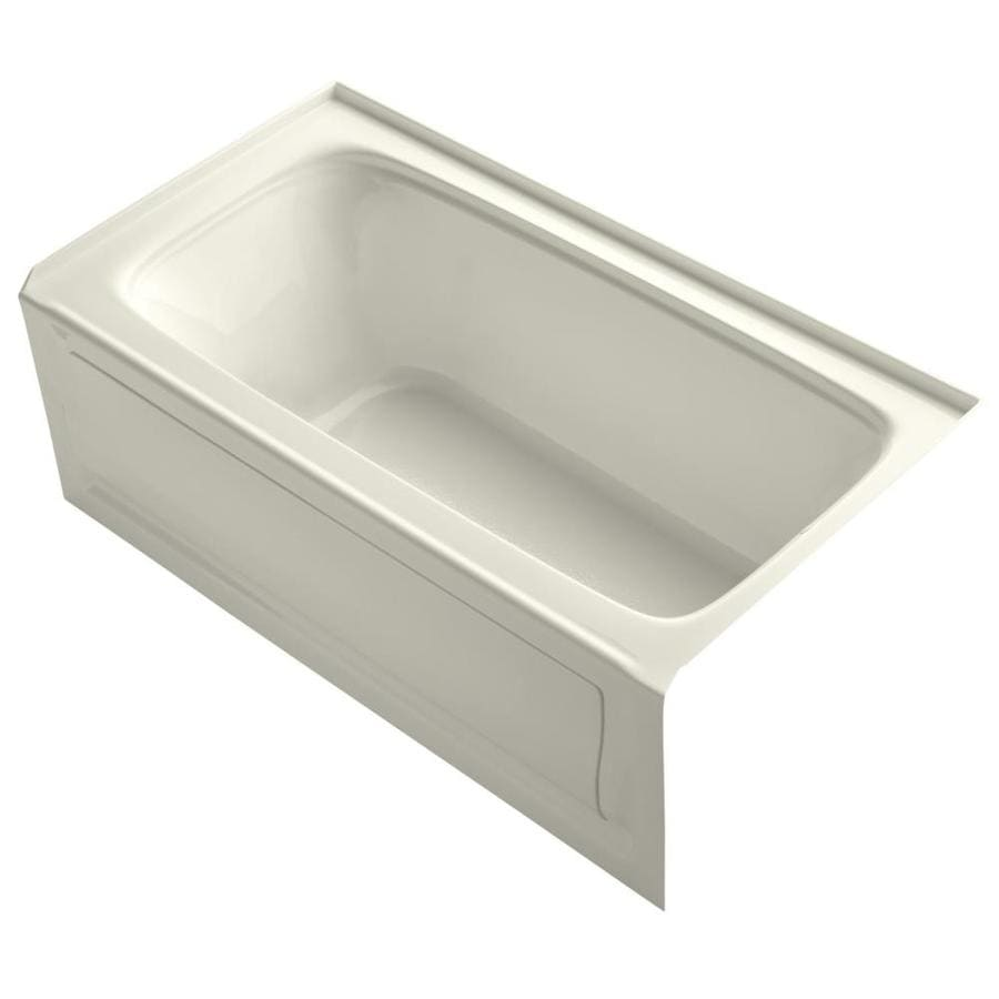 KOHLER Bancroft Biscuit Acrylic Rectangular Alcove Bathtub with Right-Hand Drain (Common: 32-in x 60-in; Actual: 20.25-in x 32-in x 60-in)