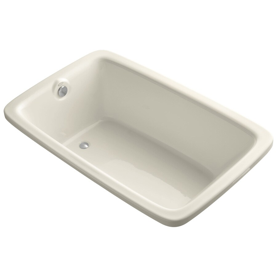 KOHLER Bancroft Almond Acrylic Rectangular Drop-in Bathtub with Reversible Drain (Common: 42-in x 66-in; Actual: 22-in x 42-in x 66-in)