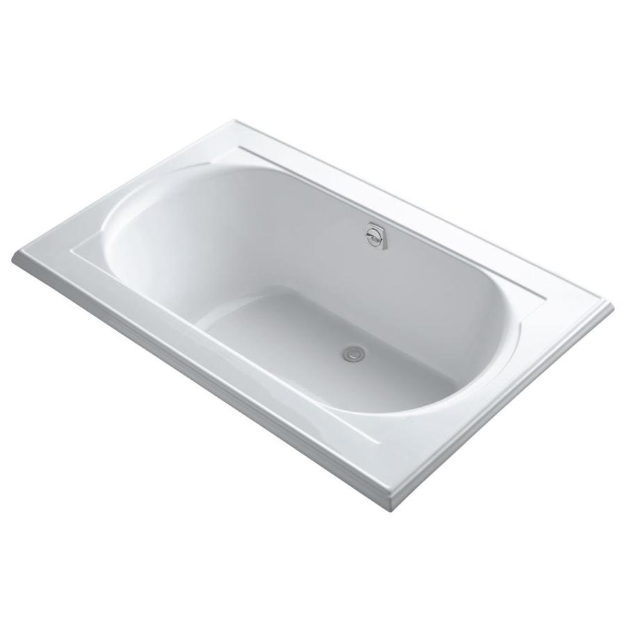 KOHLER Memoirs 66-in White Acrylic Drop-In Bathtub with Reversible Drain