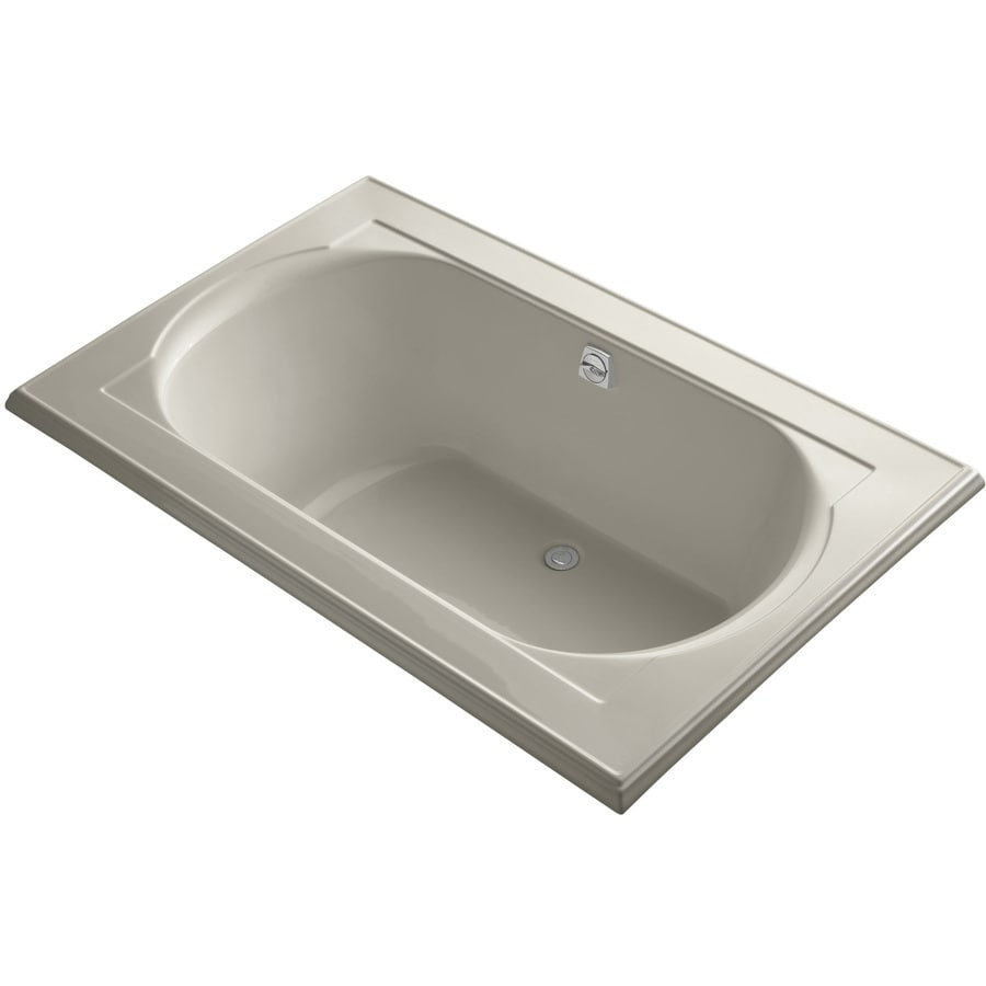 KOHLER Memoirs Sandbar Acrylic Oval In Rectangle Drop-in Bathtub with Reversible Drain (Common: 42-in x 66-in; Actual: 22-in x 42-in x 66-in)