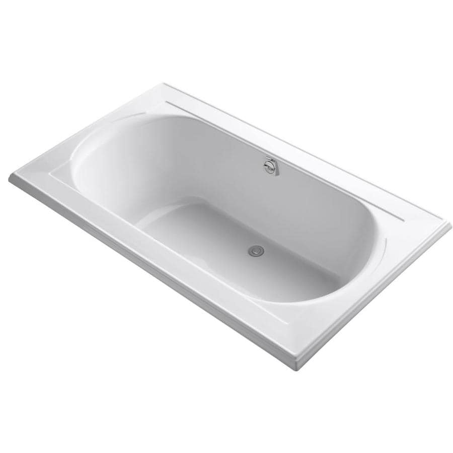 KOHLER Memoirs 72-in White Acrylic Drop-In Bathtub with Reversible Drain