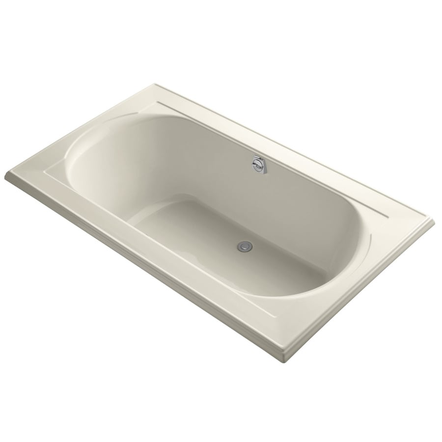 KOHLER Memoirs 72-in Almond Acrylic Drop-In Bathtub with Reversible Drain