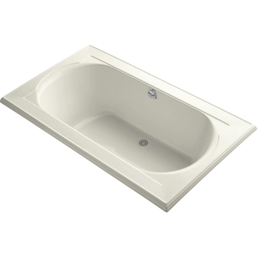KOHLER Memoirs Biscuit Acrylic Oval In Rectangle Drop-in Bathtub with Reversible Drain (Common: 42-in x 72-in; Actual: 22-in x 42-in x 72-in)
