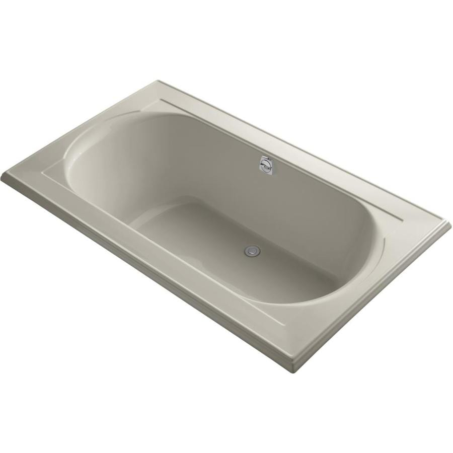 KOHLER Memoirs Sandbar Acrylic Oval In Rectangle Drop-in Bathtub with Reversible Drain (Common: 42-in x 72-in; Actual: 22-in x 42-in x 72-in)