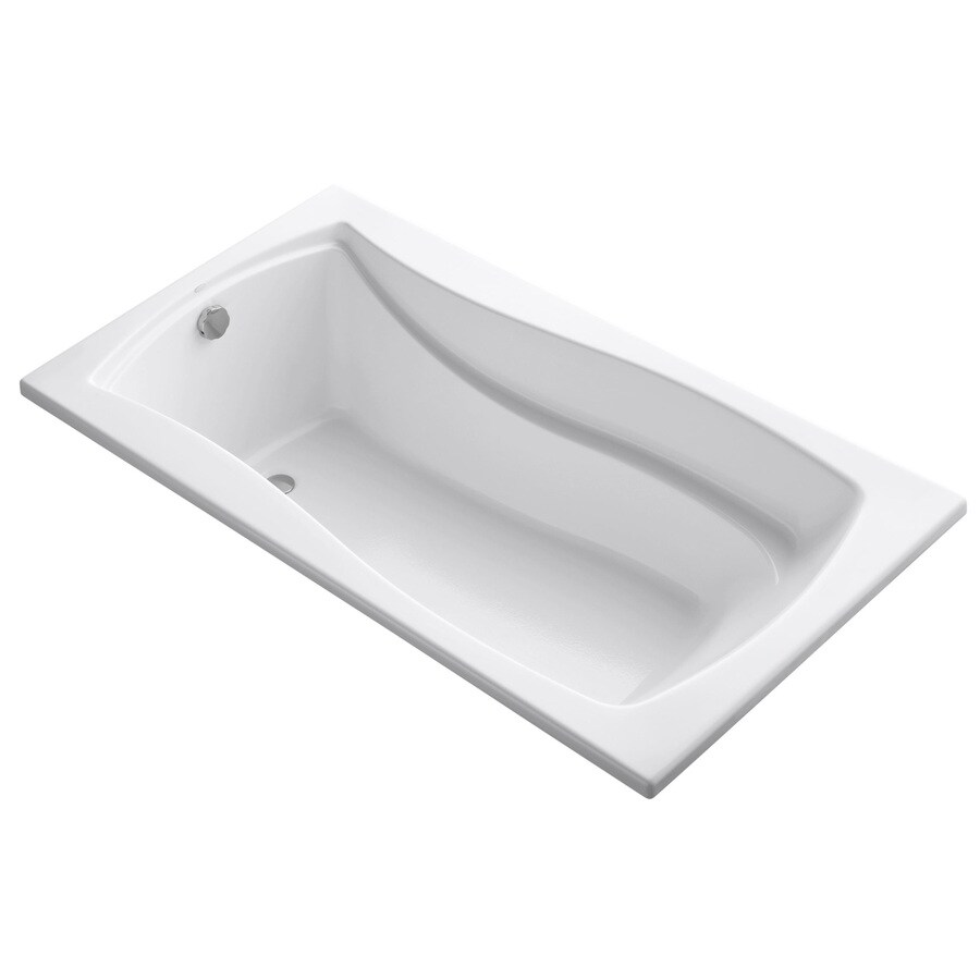 KOHLER Mariposa 66-in White Acrylic Drop-In Bathtub with Reversible Drain