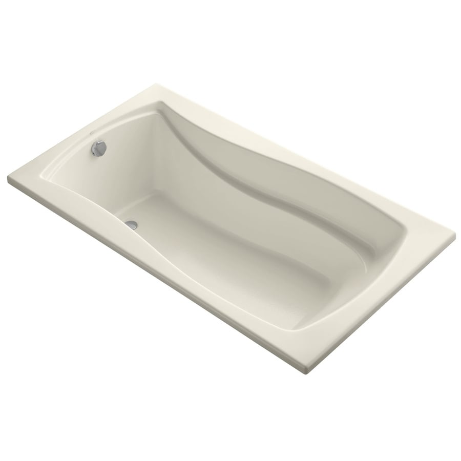 KOHLER Mariposa 66-in Almond Acrylic Drop-In Bathtub with Reversible Drain