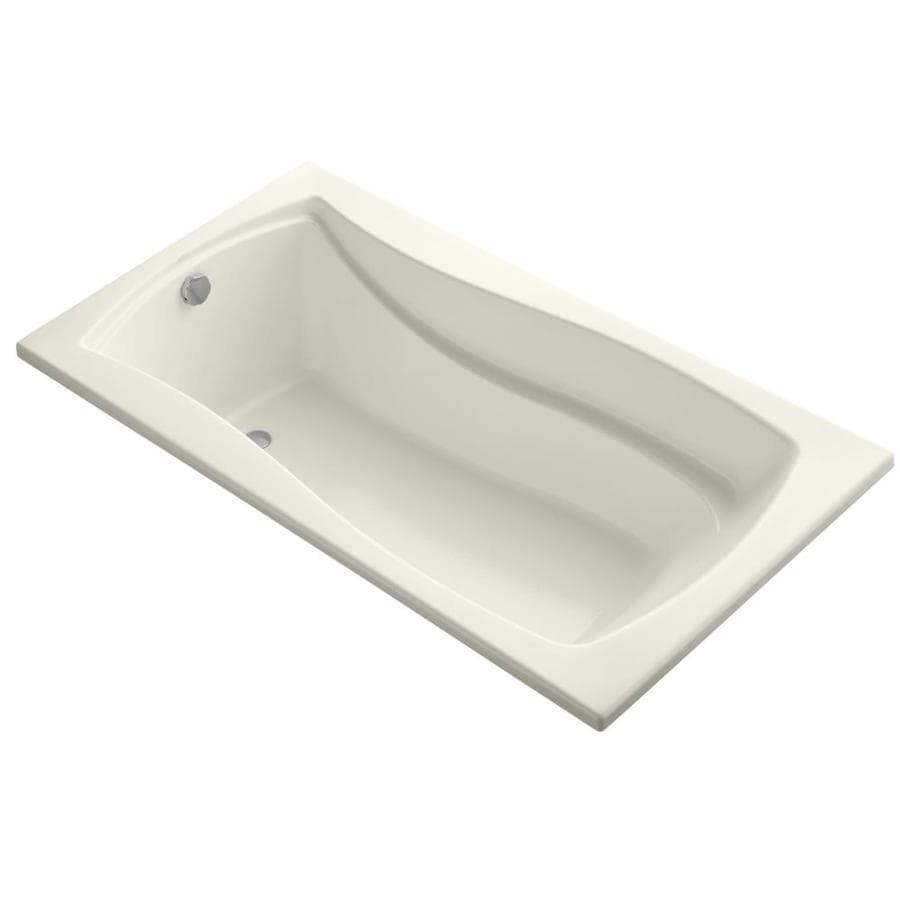 KOHLER Mariposa Biscuit Acrylic Rectangular Drop-in Bathtub with Reversible Drain (Common: 36-in x 66-in; Actual: 21.25-in x 35.875-in x 66-in)