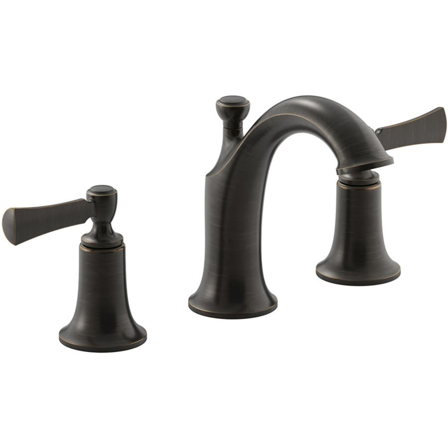 Kohler Elliston Oil Rubbed Bronze 2 Handle Widespread Watersense Bathroom Faucet Drain Included