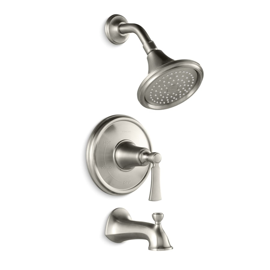 Kohler Tub And Shower : KOHLER Elliston Vibrant Brushed Nickel 1-Handle Bathtub and Shower ...