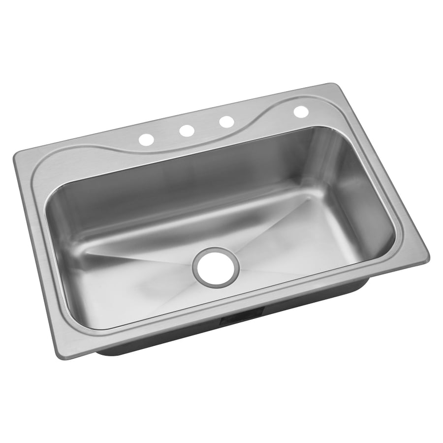 Sterling Southhaven 22-in x 33-in Satin Single-Basin Stainless Steel Drop-In 4-Hole Residential Kitchen Sink