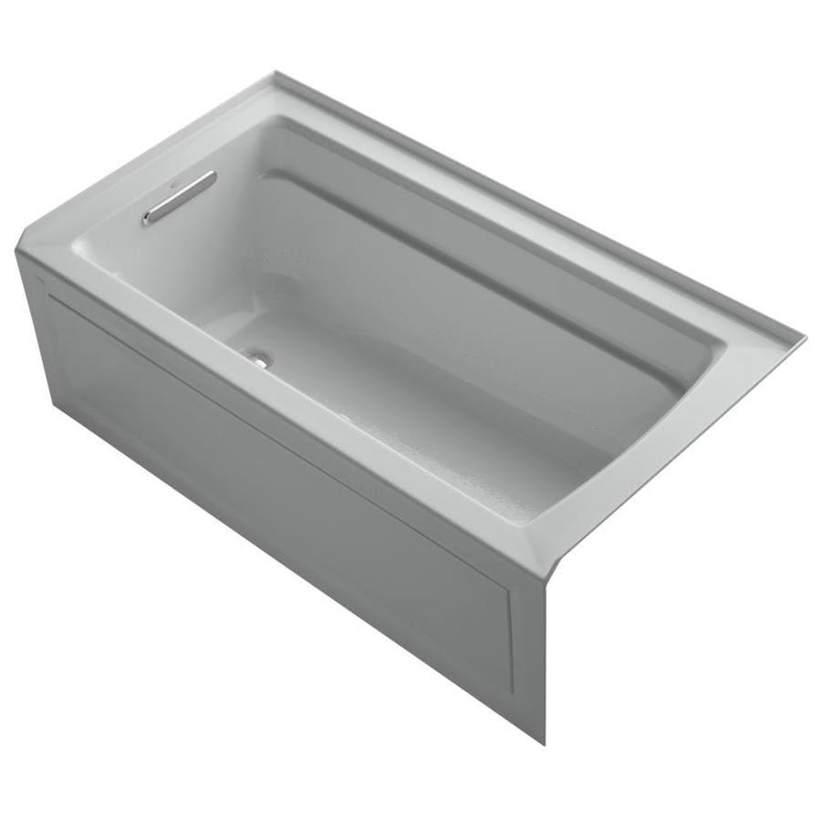 KOHLER Archer 60-in L x 32-in W x 20.25-in H Ice Grey Acrylic Rectangular Alcove Air Bath