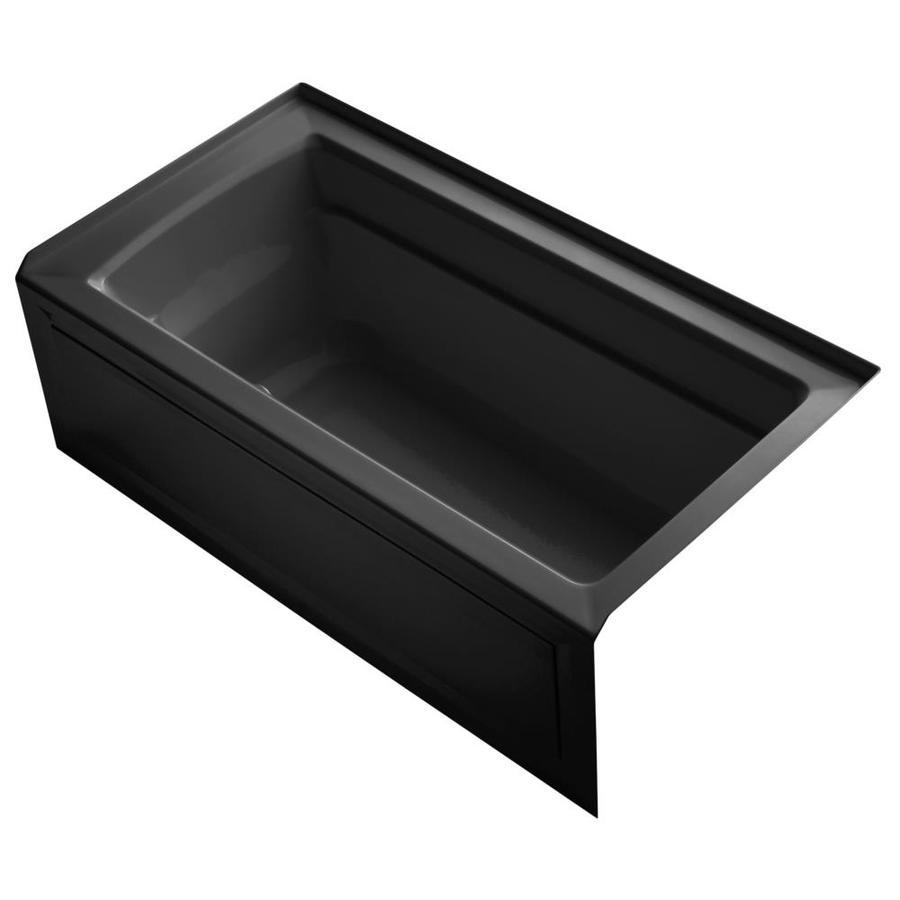 KOHLER Archer 60-in Biscuit Acrylic Alcove Air Bath with Reversible Drain