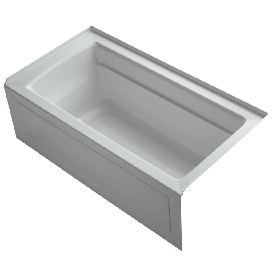 KOHLER Archer 60-in L x 32-in W x 20.5-in H Ice Grey Acrylic Rectangular Alcove Air Bath