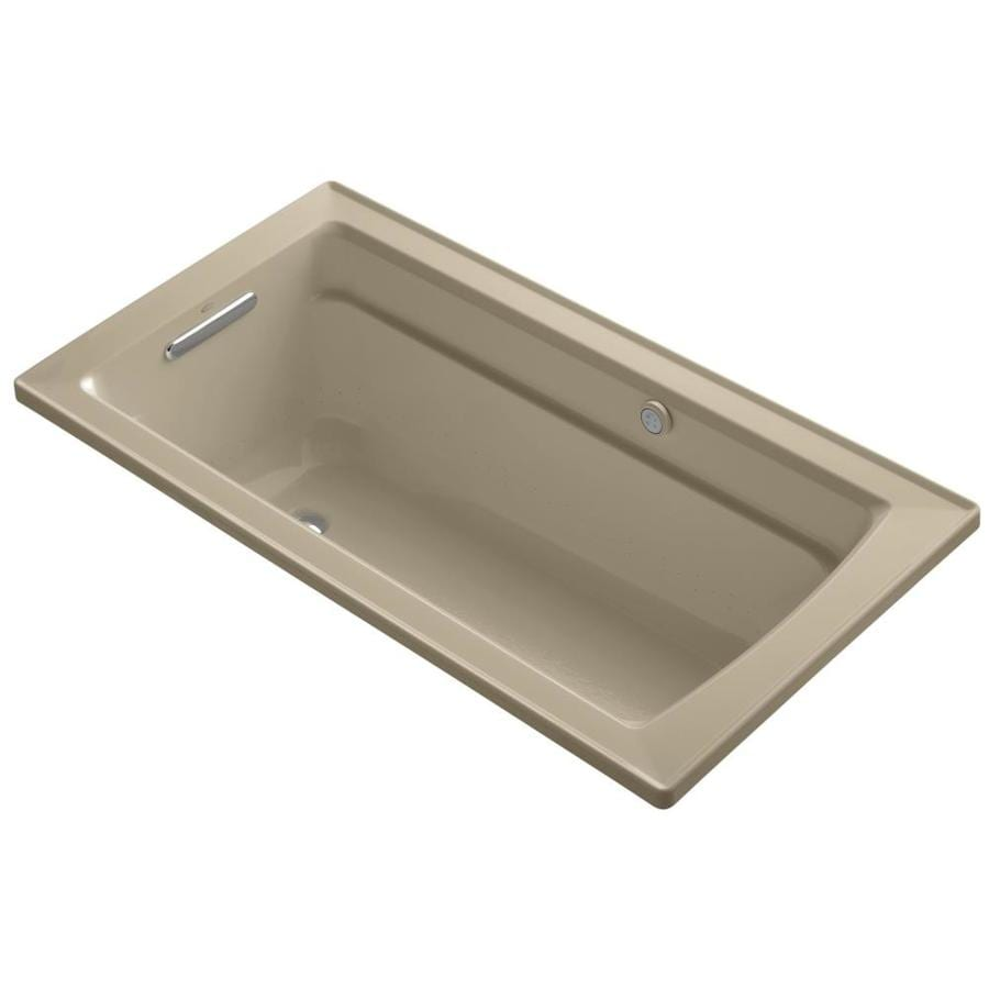 KOHLER Archer 72-in Mexican Sand Acrylic Alcove Air Bath with Left-Hand Drain