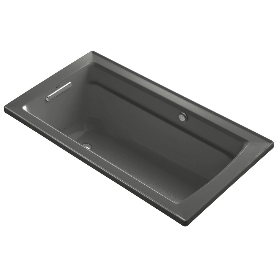 KOHLER Archer 72-in Thunder Grey Acrylic Alcove Air Bath with Left-Hand Drain