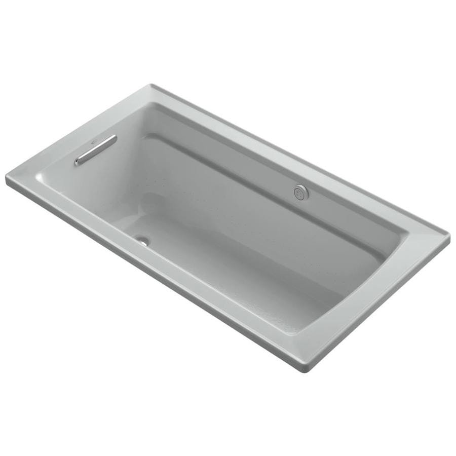 KOHLER Archer 72-in Ice Grey Acrylic Alcove Air Bath with Right-Hand Drain