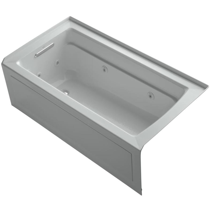 KOHLER Archer Ice Grey Acrylic Rectangular Whirlpool Tub (Common: 32-in x 60-in; Actual: 21.25-in x 32-in x 60-in)