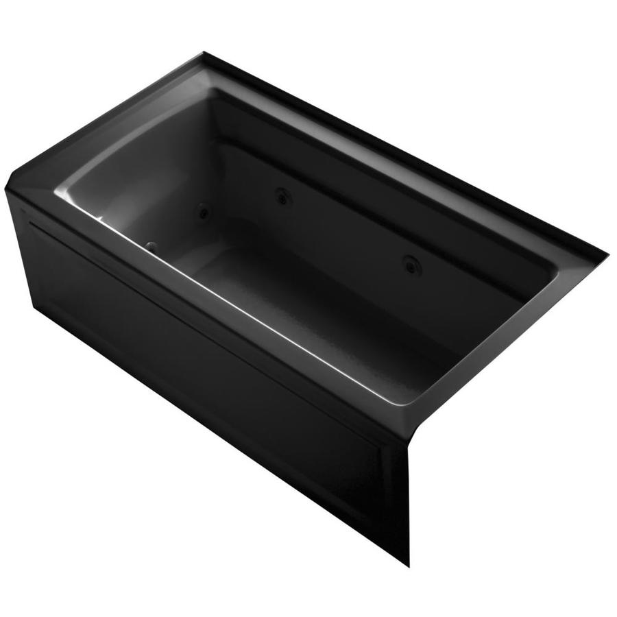 KOHLER Archer Black Black Acrylic Rectangular Whirlpool Tub (Common: 32-in x 60-in; Actual: 21.25-in x 32-in x 60-in)