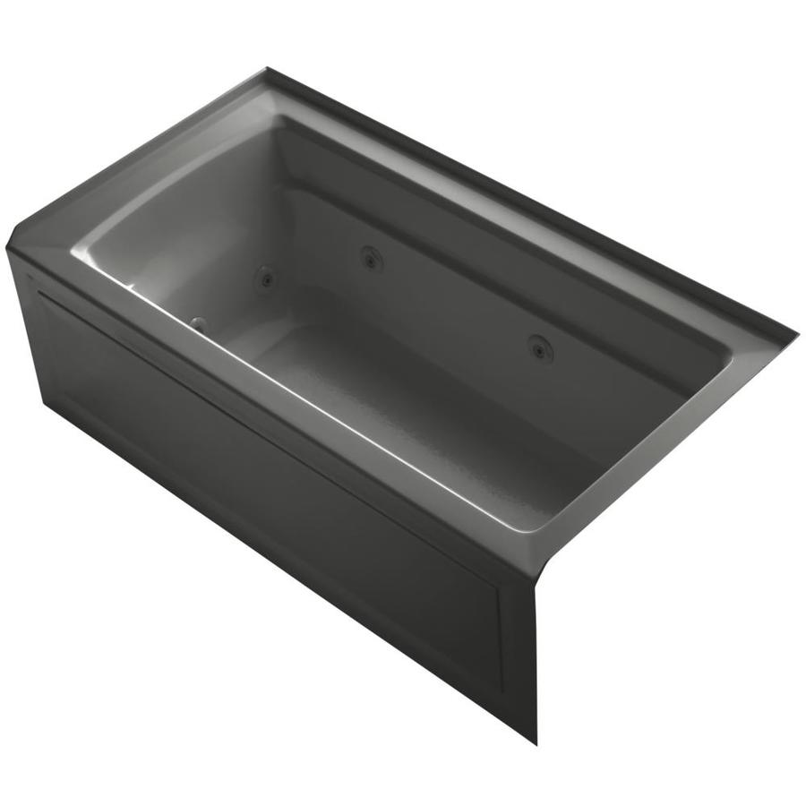 KOHLER Archer Thunder Grey Acrylic Rectangular Alcove Whirlpool Tub (Common: 32-in x 60-in; Actual: 21.25-in x 32-in)