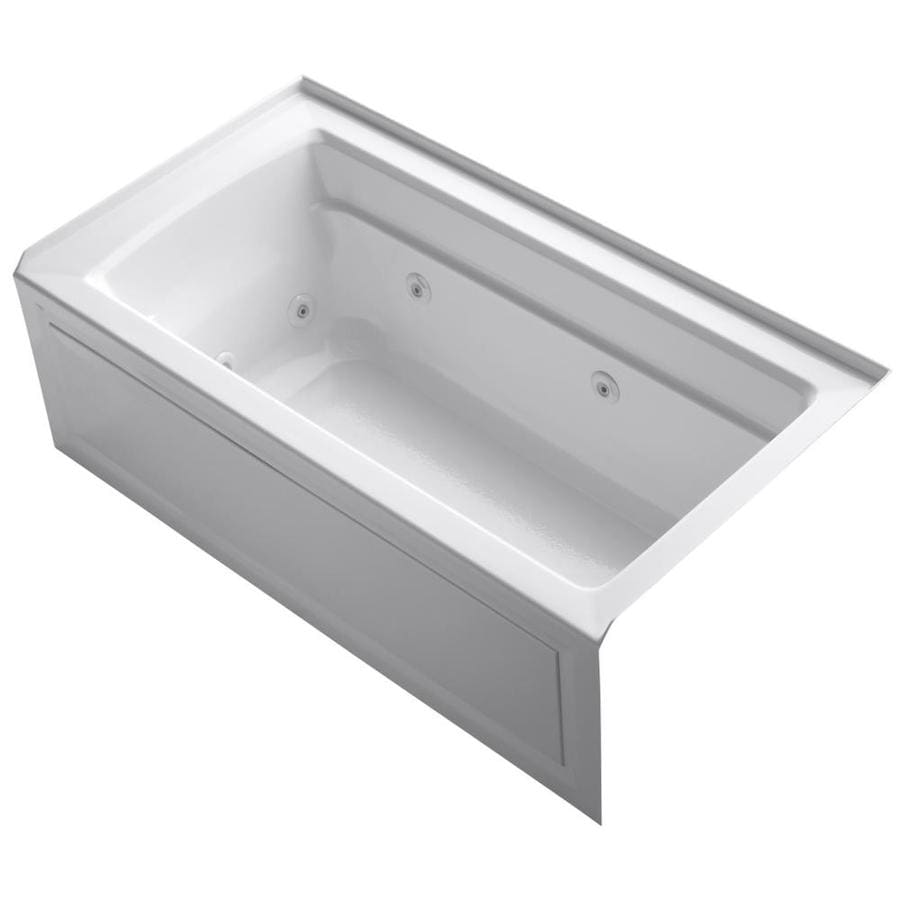 KOHLER Archer Ice Grey Acrylic Rectangular Alcove Whirlpool Tub (Common: 32-in x 60-in; Actual: 21.25-in x 32-in)