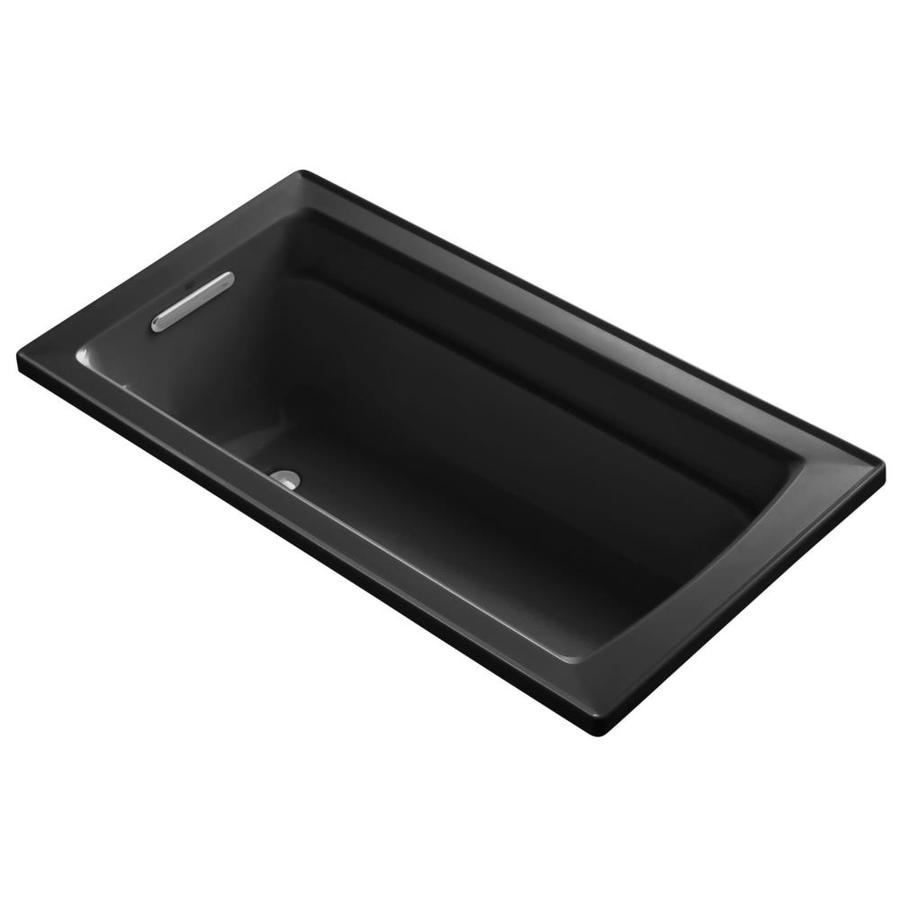 KOHLER Archer Black Acrylic Rectangular Drop-in Bathtub with Reversible Drain (Common: 32-in x 60-in; Actual: 19-in x 32-in x 60-in)