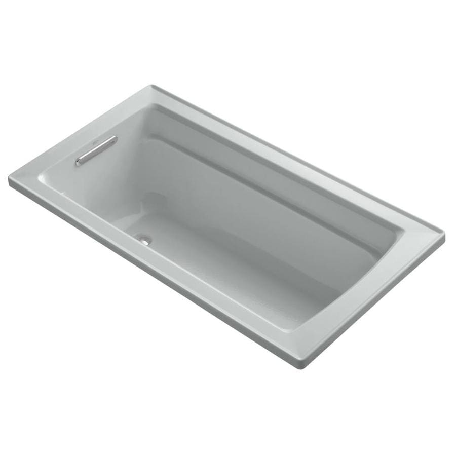 KOHLER Archer Ice Grey Acrylic Rectangular Drop-in Bathtub with Reversible Drain (Common: 32-in x 60-in; Actual: 19.0000-in x 32.0000-in x 60.0000-in)